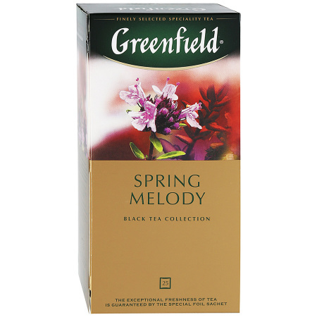 Чай GREENFIELD Spring melody black tea, Россия, пакет., 2 г.*25шт,картон