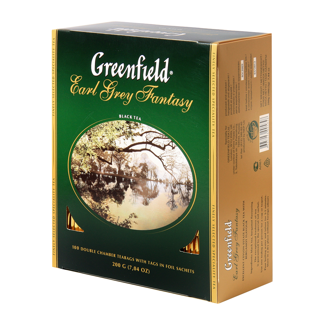 Чай GREENFIELD Earl Grey Fantasy black tea, Россия, пакет., 2 г.* 100шт,картон