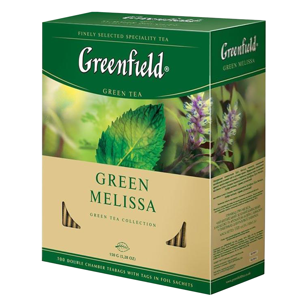 Чай GREENFIELD Green Melissa herbal tea, Россия, пакет., 2 г.*100 шт,картон
