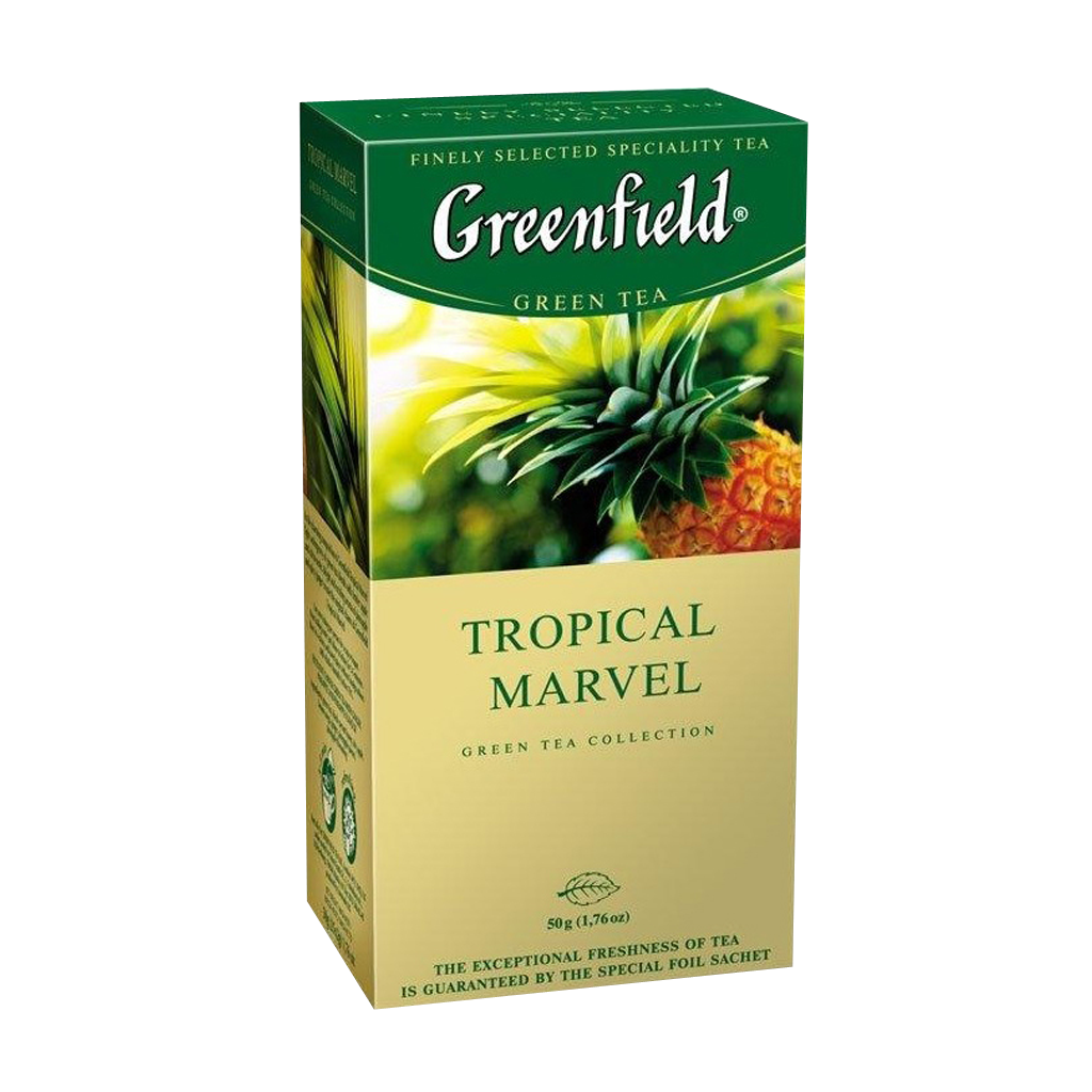 Чай GREENFIELD Tropical Marvel herbal tea, Россия, пакет., 1,5 г.*25шт,картон