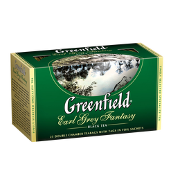 Чай GREENFIELD Earl Grey Fantasy black tea, Россия, пакет., 2 г.*25шт,картон