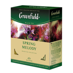 Чай GREENFIELD Spring melody black tea, Россия, пакет., 2 г.*100шт,картон
